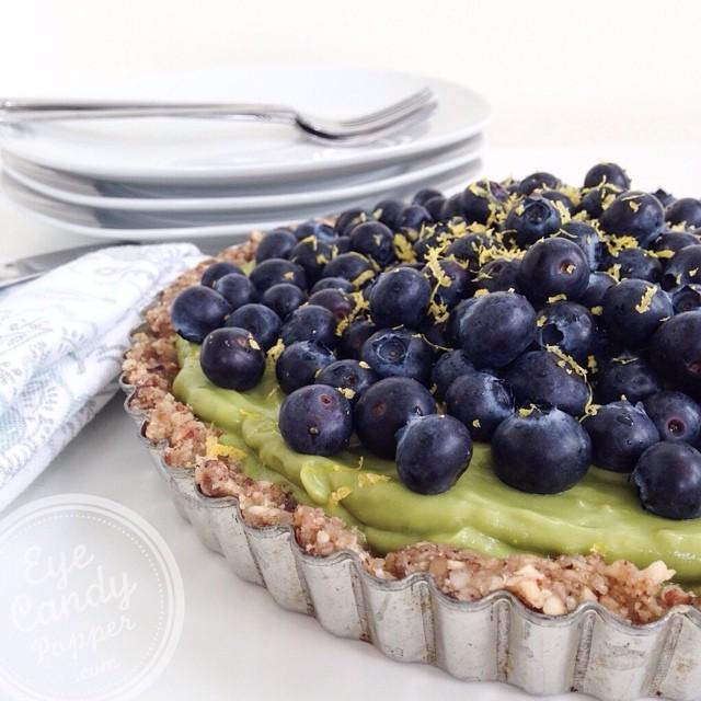 Lemon Pie With Blueberries, Dates & Hazelnuts