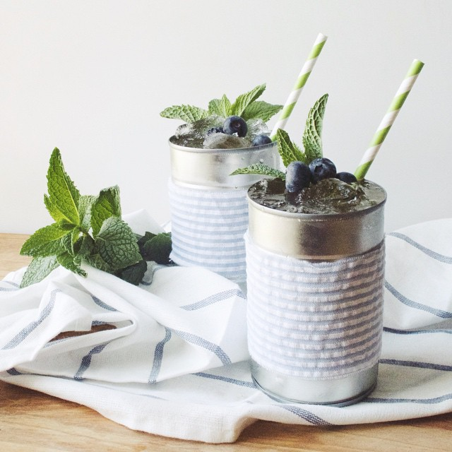 Tin Can Blueberry Mint Juleps