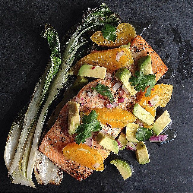 Grilled Salmon And Bok Choy With Orange And Avocado