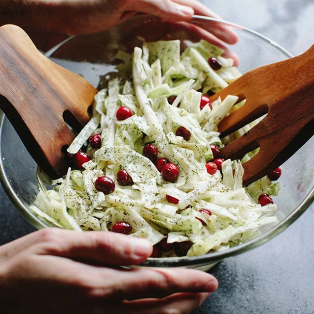 Some people crave pie. I crave slaw. This cabbage and kohlrabi slaw has  fresh cranberries to give…