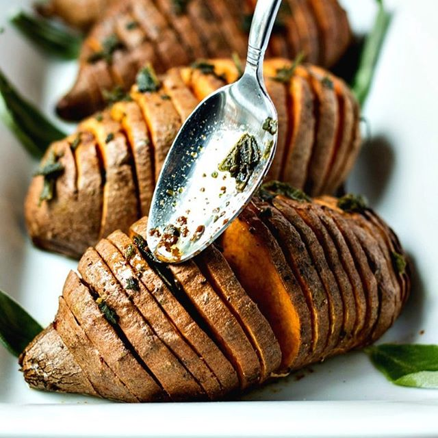 Sage Brown Butter Hasselback Sweet Potatoes