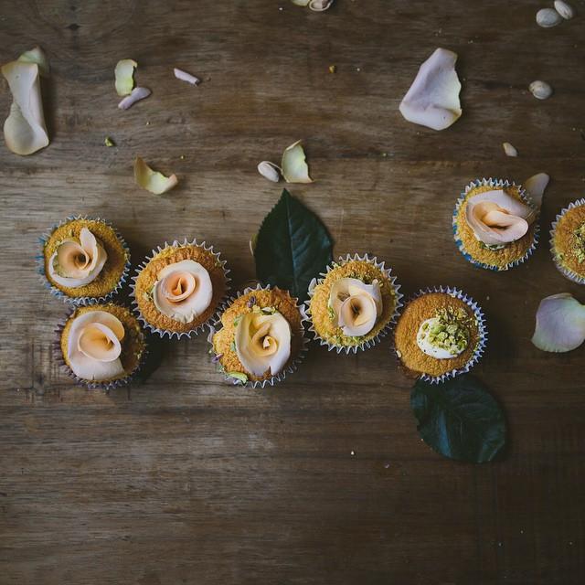 Rose Hokkaido Cupcakes With Pistachio Cream Filling