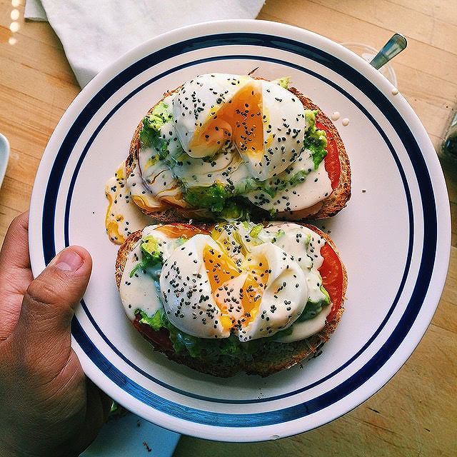 Eggs On Toast With Tomato, Cream And Chia Seeds
