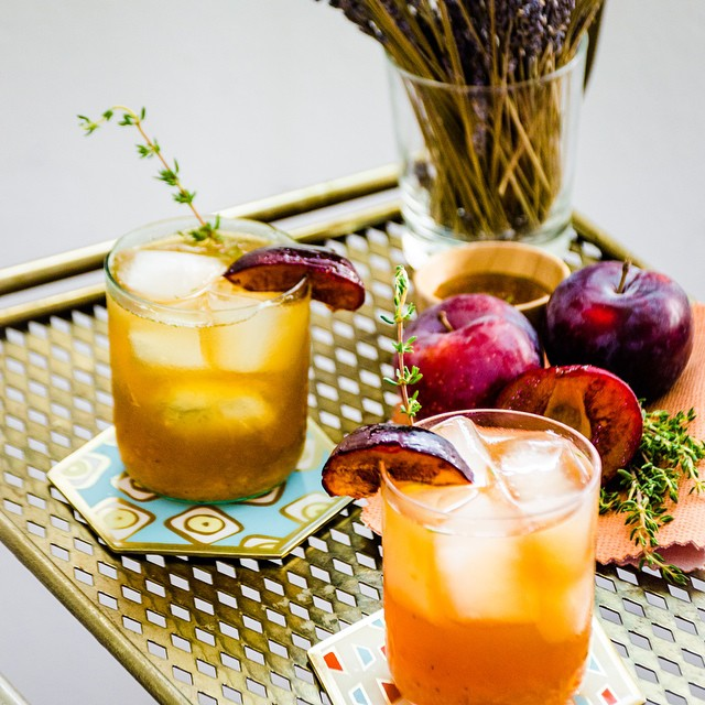 Honey-grilled Plum Vodka Tonics