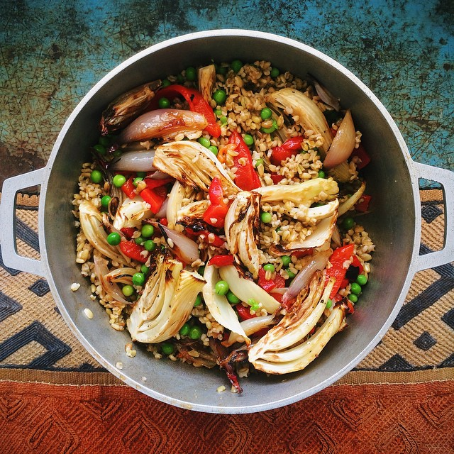 Warm Freekeh Salad With Roasted Shallots, Fennel And Peas