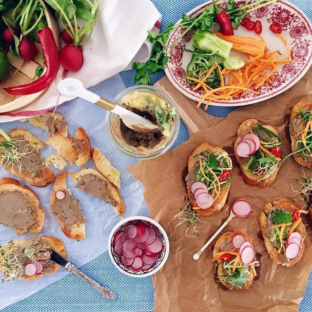 Pâté Banh Mi Crostini With Pickled Radish & Cilantro