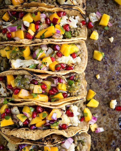 Lentil And Cauliflower Tacos With Salse Verde And Pomegranate Salsa