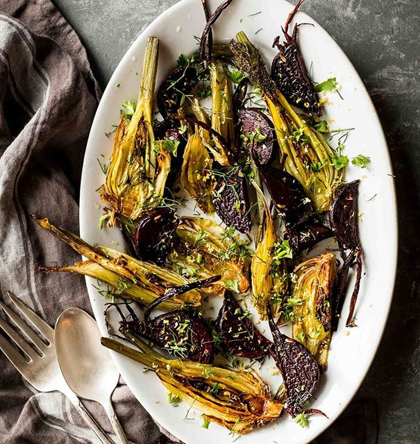 Simple Roasted Fennel & Beet Salad. I love when the most basic ingredients turn into a damn fine…