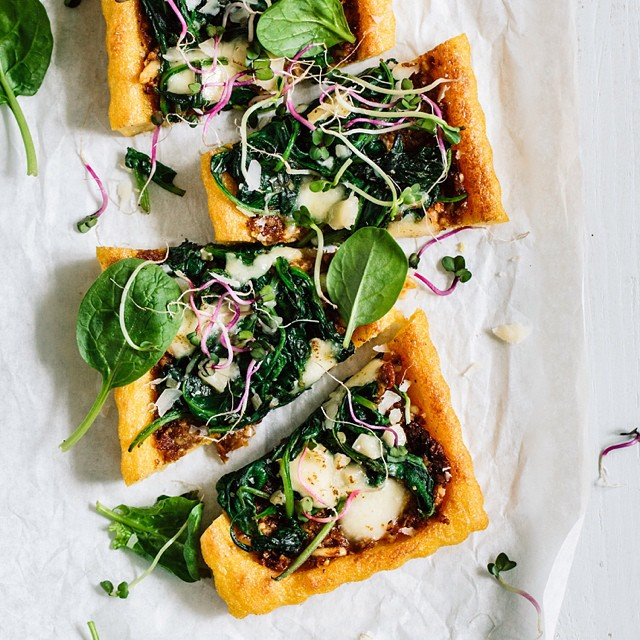 Mediterranean Tart With Tomato Pesto And Spinach On A Crispy Polenta Crust With Pine Nuts