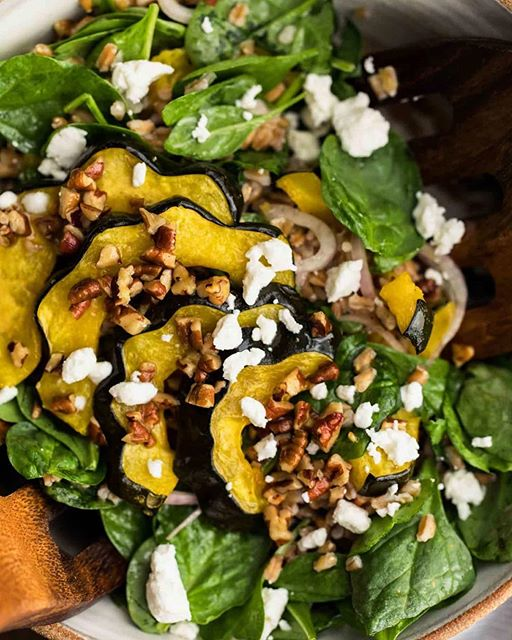 Fall in a bowl: roasted acorn squash, farro, spinach, and a delicious pecan vinaigrette (made from…
