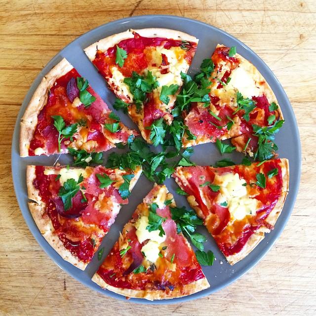 Smoky Bacon, Mascarpone And Flat Leaf Parsley Pizza