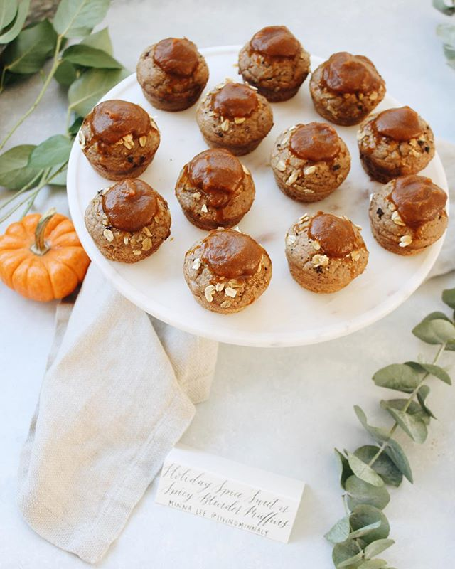 Made these GF holiday spice blender muffins w/pumpkin-maple coconut butter to celebrate @thefeedfeed…