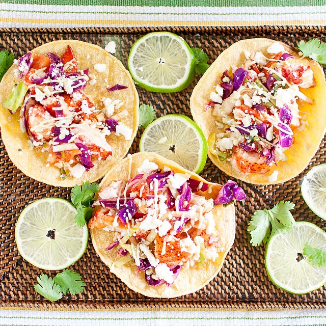 Lobster Tacos With Chili-lime Slaw And Avocado Cream Drizzle