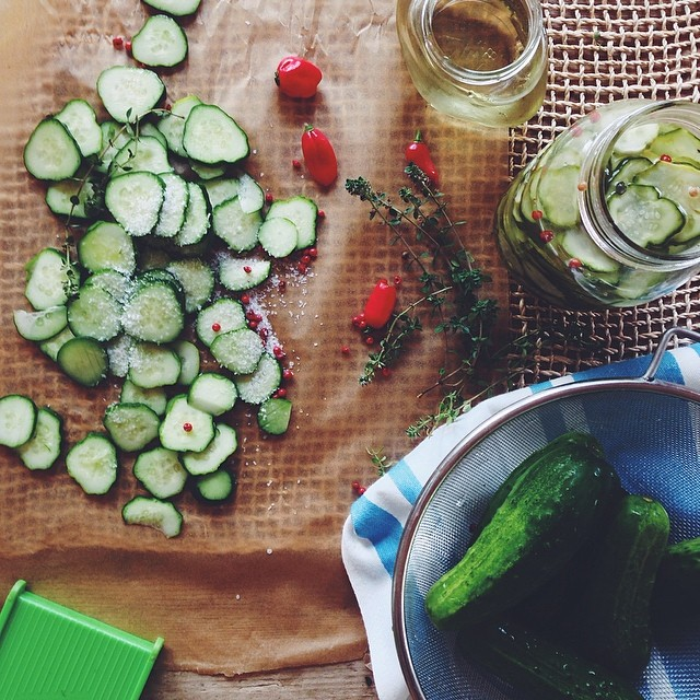 Sweet & Spicy Lemon Thyme Fridge Pickles