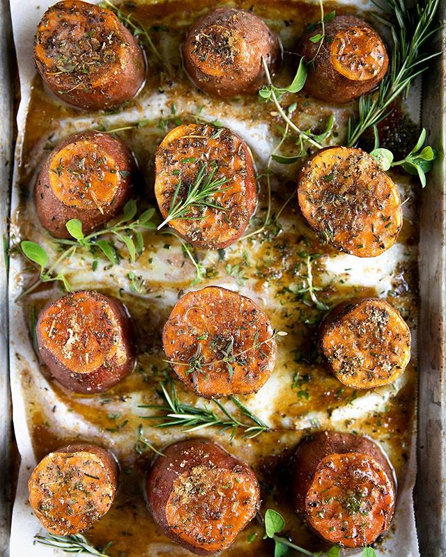 Brown Sugar Roasted Sweet Potatoes With Herbs