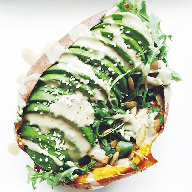 Avocado And Arugula Stuffed Sweet Potato