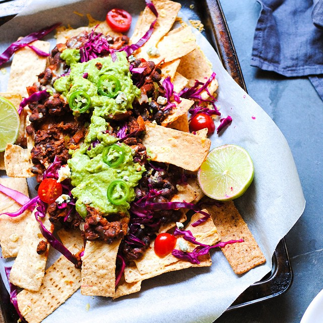 Nachos With Black Beans, Blue Cheese And Quick & Easy Guacamole