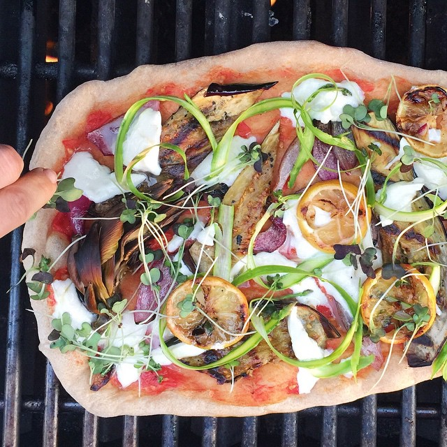 Grilled Vegetable Pizza With Onions, Lemons, Artichokes, Asparagus & Microgreens