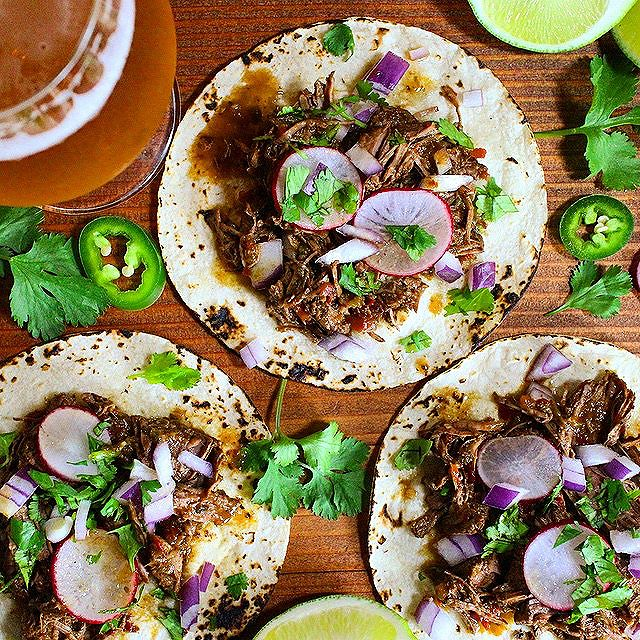 Tacos With Beer And Coffee Braised Barbacoa Beef