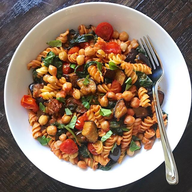 Roasted Chickpea And Eggplant Pasta
