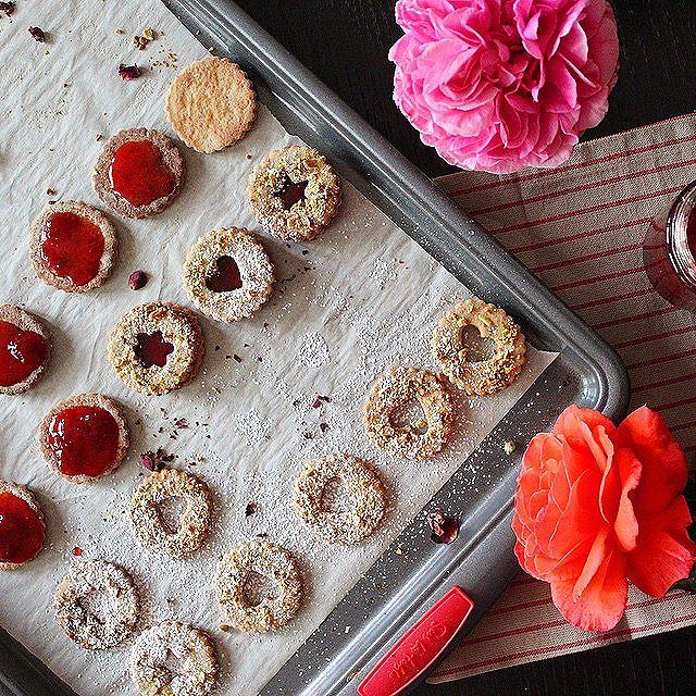 Strawberry & Rose Petal Jam Thandai Linzer Cookies
