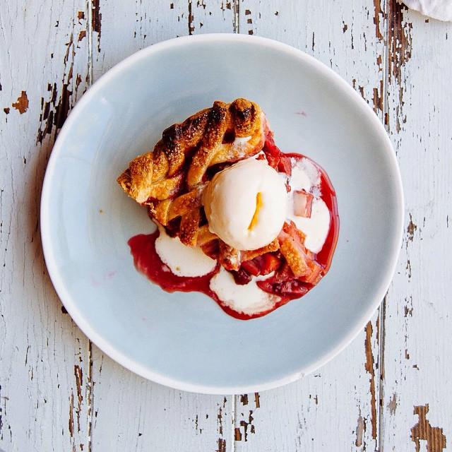 Raspberry Rhubarb Pie With Lemon Butter Milk Ice Cream
