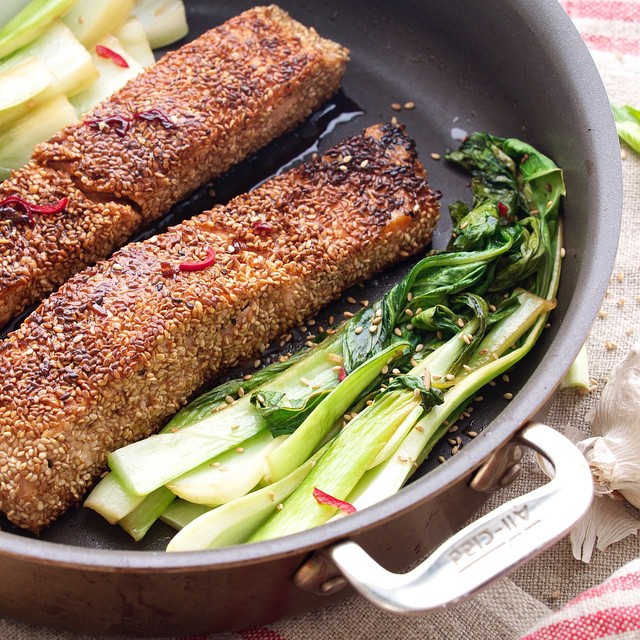 Sesame Crusted Salmon With Spicy Bok Choy