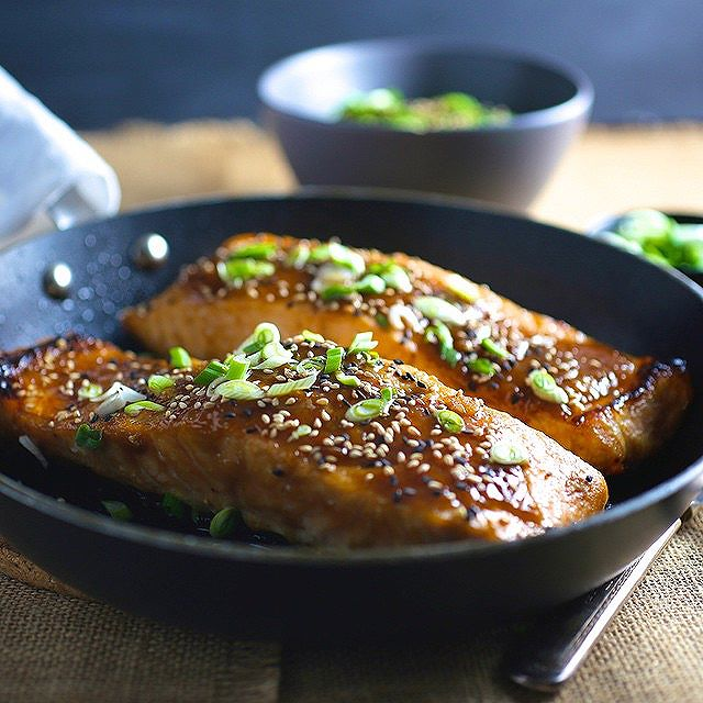 Miso Glazed Crispy-skinned Salmon With Scallions & Toasted Sesame Seeds