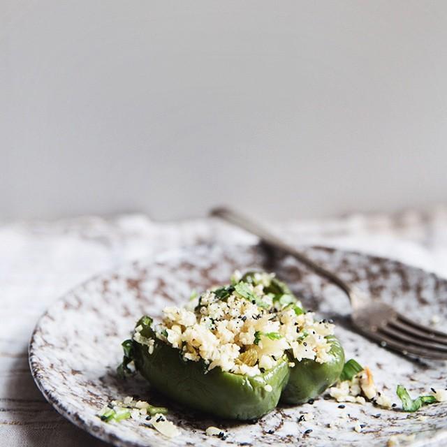 Ramp & Cauliflower Stuffed Roasted Peppers