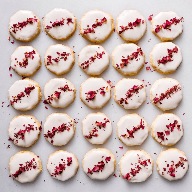 Ginger-rose Glazed Shortbread Cookies