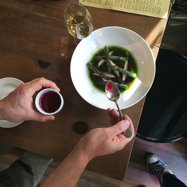 Purple Asparagus With Foraged Wild Nettles And White Beet