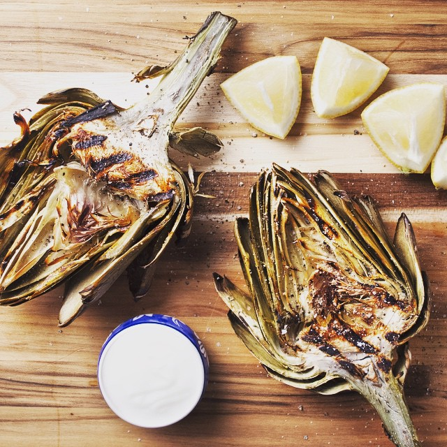 Grilled Artichokes With Yogurt Sauce