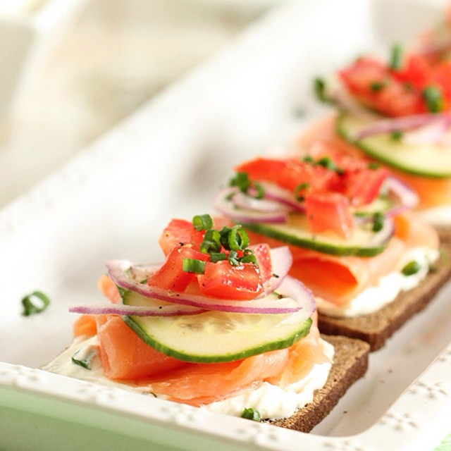 Smoked Salmon & Whipped Chive Cream Cheese Canapés On Pumpernickel Bread