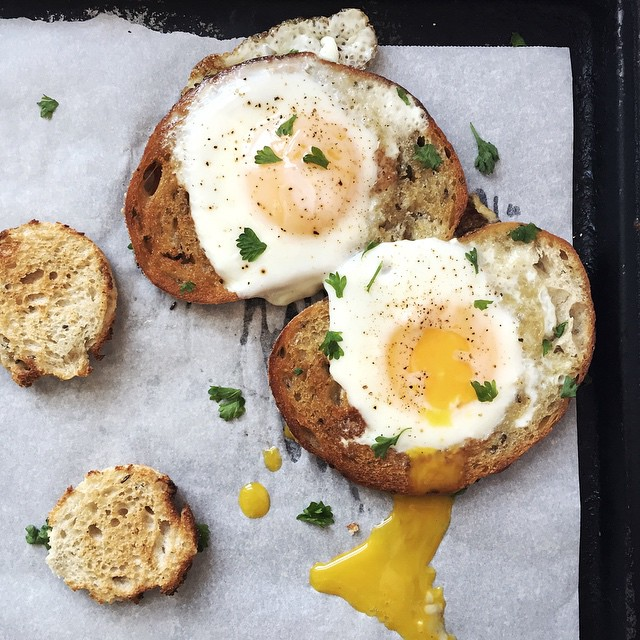 Egg-in-a-hole Drizzled In Black Truffle Oil + Parsley