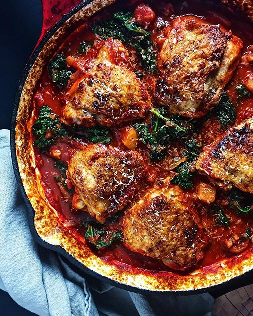 Braised Chicken Thighs With Tomato Broth, Kale And Butternut Squash