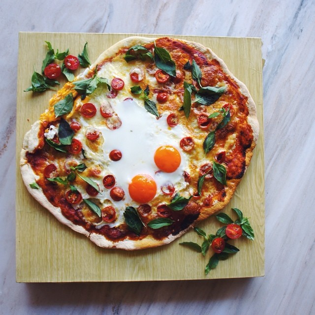 Thin Crust Tomato, Basil, & Egg Pizza