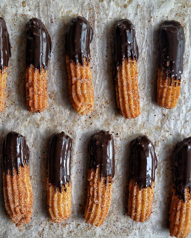 Churros! @gulp.fiction and I made a batch of EGGLESS and BAKED churros for our workshop tomorrow. So…