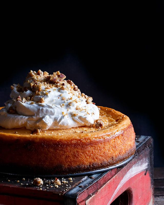 Sweet Potato Mascarpone Cheesecake With Biscoff Cookie Crust And Bourbon Whipped Cream