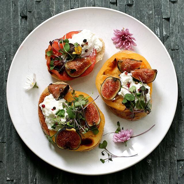 Heirloom Tomatoes, Ricotta, And Fig Crostini