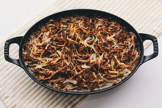 Mushroom And Green Bean Casserole With Crispy Onions