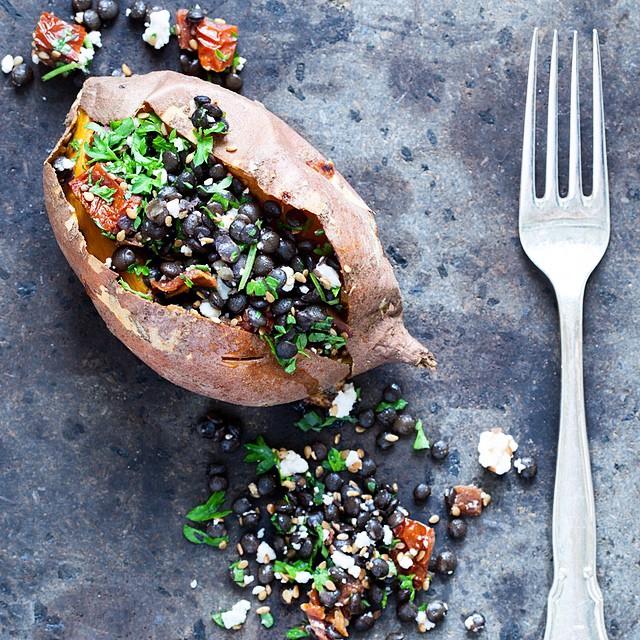 Rosemary Beluga Lentil Stuffed Sweet Potatoes