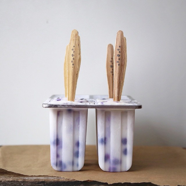 Coconut Blueberry Popsicles With Fresh Ginger