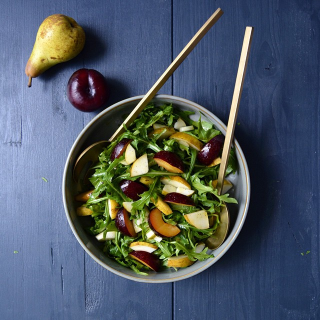 Rucola, Plum And Pear With Orange Blossom Dressing