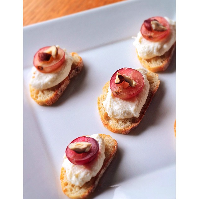 Crostini Of Fresh Ricotta, Grape + Roasted Hazelnut