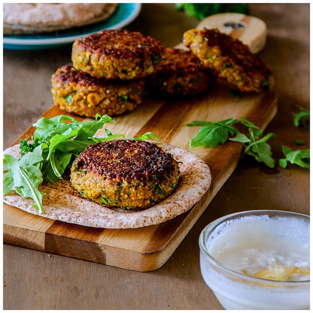 Spiced Millet And Chickpea Burgers With Lemon Yogurt