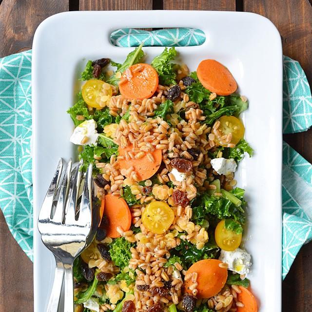 Moroccan Kale & Lentil Farro Salad With Lemon Dill Dressing