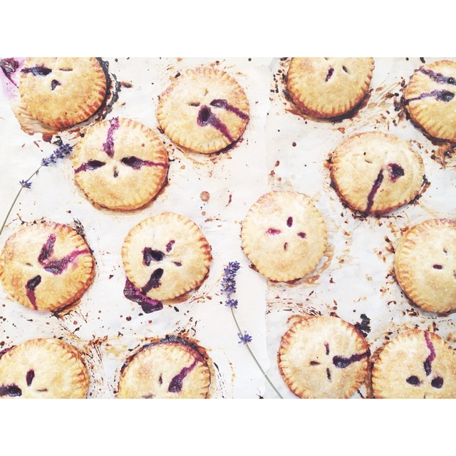 Mini Blueberry Lavender Hand Pies With Brown Sugar & Ice Cream