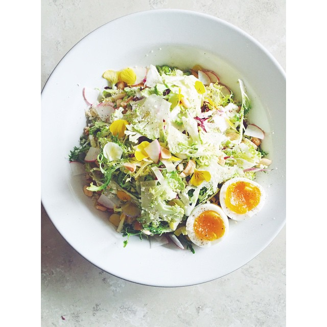 Shaved Heirloom Cauliflower, Frisée, + Chicories Salad With Marconas, Powdered Parmesan, Radish + Soft Farm Egg