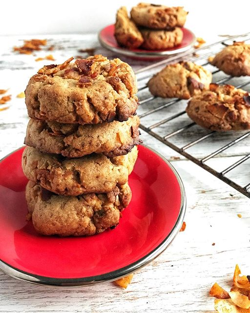 vegan and cookies garnished with real bacon just because who doesn't love bacon!