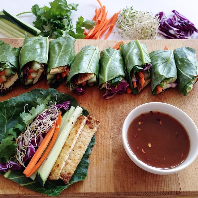Collard Green Rice Paper Rolls With Chilli Peanut Dipping Sauce